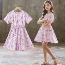 Dress Pink female Annica story 110cm,120cm,130cm,140cm,150cm,160cm Cotton 100% summer Korean version Short sleeve flower cotton Princess Dress Class B Five, six, seven, eight, nine, ten, eleven, twelve