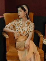 Dress Summer 2020 Graph color S,M,L Mid length dress Two piece set Short sleeve commute Decor Retro