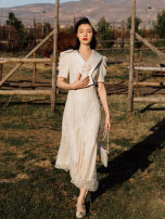 Dress Summer 2021 Apricot S,M,L Mid length dress singleton  Short sleeve commute V-neck High waist Solid color zipper other Flying sleeve Others Retro Lace, mesh, lace
