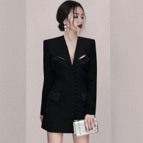 Dress / evening wear Wedding, adulthood, party, company annual meeting, performance, routine, appointment XS,S,M,L black fashion Short skirt middle-waisted Winter 2020 A-line skirt Polyester fiber 26-35 years old DJ12150 Long sleeves Solid color Other / other routine