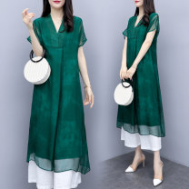 Fashion suit Summer 2021 S,M,L,XL,XXL,XXXL Green, top, green, white pants Other / other