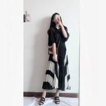 skirt Autumn of 2018 S,M,L,XL Black + Beige longuette High waist Pleated skirt Fold, splice