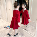 Dress gules female Other / other 120cm,130cm,140cm,150cm,160cm,170cm Other 100% spring and autumn Korean version Long sleeves Solid color other Pleats Class B Chinese Mainland Zhejiang Province Huzhou City