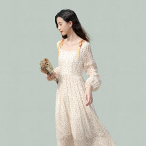 Dress Spring 2021 Apricot S,M,L,XL,2XL,3XL Middle-skirt singleton  Long sleeves Sweet square neck High waist Solid color Socket other routine Others 18-24 years old Type A Prints, bows, ruffles, folds 30% and below other