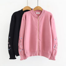 Wool knitwear Autumn of 2018 XL 2XL 3XL Black Pink Long sleeves singleton  Cardigan Cellulose acetate 51% (inclusive) - 70% (inclusive) Regular routine commute easy other Petal sleeve Plants and flowers zipper Korean version 065 30-34 years old Other / other