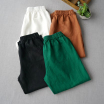 Casual pants Black, milky white, light brown, dark green Average size Summer of 2019 Ninth pants 96% and above hemp