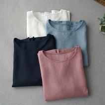 shirt S,M,L Summer of 2019 hemp 96% and above Short sleeve commute Regular Crew neck Simplicity
