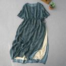Dress Summer 2020 Picture color Average size longuette Short sleeve commute Crew neck Retro hemp