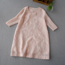 shirt Water green [7 / 7], pink [7 / 7], milky white [7 / 7], ginger [7 / 7], red [7 / 7] Average size Summer of 2019 hemp 96% and above elbow sleeve commute Crew neck Retro FW859