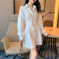 shirt White, black Average size Summer 2020 other 96% and above Long sleeves commute Medium length Polo collar Single row multi button Solid color 18-24 years old Straight cylinder Korean version Frenulum