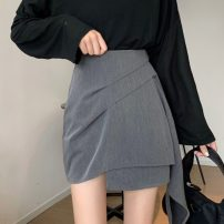 skirt Summer 2020 S,M,L Gray, black Short skirt commute High waist Irregular Solid color Type A 18-24 years old 51% (inclusive) - 70% (inclusive) Korean version