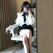 Fashion suit Spring 2020 S, M White top, black shorts, two piece set 18-25 years old