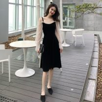 Dress Spring of 2019 black S, M longuette singleton  Long sleeves commute One word collar High waist Socket camisole 18-24 years old Type A lady Hollowing out