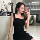 Dress Summer 2020 Black, red S, M Short skirt singleton  Sleeveless commute square neck middle-waisted Solid color Socket A-line skirt Lotus leaf sleeve camisole 18-24 years old Type H lady Open back, Ruffle other