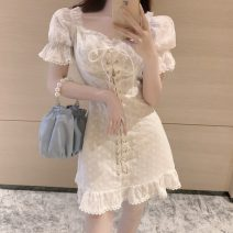 Dress Spring 2021 White, purple M, L Short skirt singleton  Short sleeve commute square neck High waist Solid color A-line skirt puff sleeve 18-24 years old Type A Korean version Pleating 31% (inclusive) - 50% (inclusive)