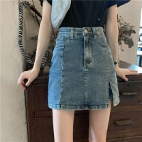 skirt Summer 2020 S,M,L Retro Blue Short skirt commute High waist A-line skirt Solid color Type A 18-24 years old Denim Other / other Korean version