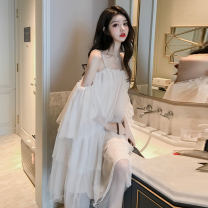 Dress Summer 2020 Picture color Average size Mid length dress singleton  commute One word collar Loose waist Solid color Socket camisole 18-24 years old Korean version