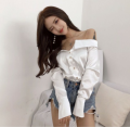 shirt Average size Autumn of 2018 nylon 81% (inclusive) - 90% (inclusive) Long sleeves commute Regular One word collar Single row multi button routine Solid color 18-24 years old lady