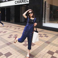 Jeans Summer of 2019 navy blue S,M,L,XL Cropped Trousers Natural waist rompers routine 18-24 years old Multiple pockets Dark color 8 21 No.1