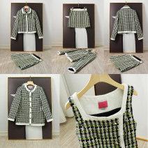 Fashion suit Autumn 2020 0, 2, 4, 6, 8, 10 Square necked vest, skirt, coat 51% (inclusive) - 70% (inclusive) cotton