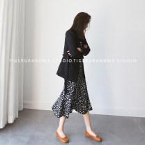 skirt Summer 2020 S,M,L commute High waist Type A 71% (inclusive) - 80% (inclusive) Chiffon polyester fiber Split Korean version