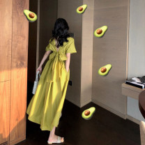 Dress Summer 2020 Avocado Green [can be worn on both sides], orange [can be worn on both sides], violet [can be worn on both sides] Average size longuette Two piece set Short sleeve commute High waist Solid color Socket A-line skirt routine Others Type A A thousand beauties Korean version