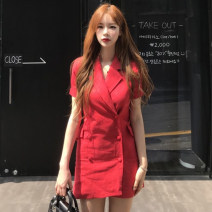 Dress Summer of 2019 Khaki, red, black Average size Mid length dress singleton  Short sleeve commute tailored collar Solid color other other Others 18-24 years old Korean version