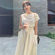 Dress Summer 2020 Off white Average size Mid length dress singleton  Short sleeve commute Slant collar High waist Solid color other other other Others 18-24 years old Korean version