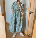 Dress Summer 2020 Picture color Average size Mid length dress singleton  Short sleeve commute square neck Loose waist Broken flowers Socket puff sleeve Others 18-24 years old Korean version