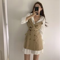 Fashion suit Autumn of 2019 Average size White dress, khaki drawstring dress, black drawstring dress 18-25 years old