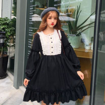 Dress Winter of 2018 Light blue, black One size fits all, XXS pre-sale Middle-skirt singleton  Long sleeves Sweet Crew neck middle-waisted Solid color Socket Ruffle Skirt bishop sleeve Others 18-24 years old Type A Other / other 51% (inclusive) - 70% (inclusive) solar system