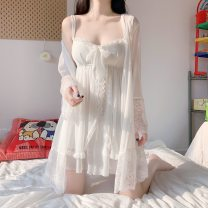Pajamas / housewear set female Other / other One size fits all, XXS pre-sale Chiffon jacket piece, suspender skirt piece other Long sleeves sexy Leisure home summer Thin money V-neck Solid color Socket youth More than 95% other Embroidery Short skirt