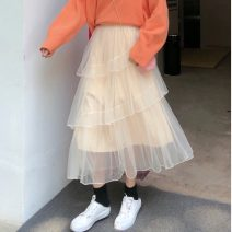 skirt Autumn of 2019 One size fits all, XXS pre-sale Apricot Middle-skirt commute Natural waist Irregular Solid color Type A 18-24 years old other Other / other other Korean version