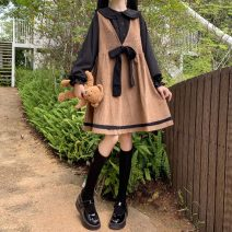 Dress Autumn 2020 Black shirt, white rabbit ear shirt, black suspender skirt, pink suspender skirt One size fits all, XXS pre-sale Middle-skirt Two piece set Long sleeves Sweet Doll Collar Solid color Socket A-line skirt routine Others 18-24 years old 81% (inclusive) - 90% (inclusive) brocade cotton