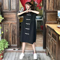 Dress Summer of 2019 Apricot, black One size fits all, XXS pre-sale Mid length dress singleton  Short sleeve Sweet Loose waist Others 18-24 years old Type A Other / other 31% (inclusive) - 50% (inclusive) polyester fiber solar system