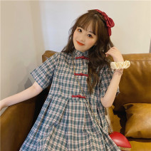 Dress Summer 2021 Graph color One size fits all, XXS pre-sale Middle-skirt singleton  Short sleeve Sweet stand collar High waist lattice Single breasted Princess Dress routine Others 18-24 years old Type A 6464# 51% (inclusive) - 70% (inclusive) other cotton solar system