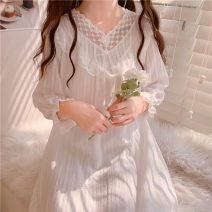 Nightdress Other / other Picture color One size fits all, XXS pre-sale Sweet Short sleeve pajamas longuette summer Solid color youth V-neck other printing More than 95% pure cotton 220g