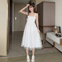 Dress Summer 2020 White, yellow One size fits all, XXS pre-sale Mid length dress singleton  Sleeveless Sweet One word collar middle-waisted Decor Socket Princess Dress other Others 18-24 years old Type A Other / other Gauze 51% (inclusive) - 70% (inclusive) other other solar system