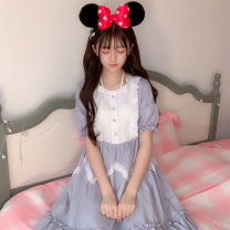 Dress Summer of 2019 Light grey, black One size fits all, XXS pre-sale Mid length dress singleton  Short sleeve Sweet Crew neck High waist Solid color Socket other Princess sleeve Others 18-24 years old Type A Other / other 31% (inclusive) - 50% (inclusive) Chiffon polyester fiber Lolita