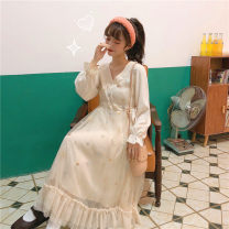 Dress Winter of 2019 Picture color One size fits all, XXS pre-sale Mid length dress singleton  Long sleeves Sweet V-neck Loose waist Socket Ruffle Skirt routine Others 18-24 years old Type A Other / other other solar system