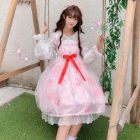 Dress Autumn of 2019 Blue jsk, purple jsk, black jsk, 9718 jellyfish shirt, 9700 veil One size fits all, XXS pre-sale Middle-skirt Sweet One word collar Loose waist Princess Dress camisole 18-24 years old Type A Other / other Lolita