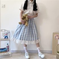 skirt Summer 2020 One size fits all, XXS pre-sale Picture color Middle-skirt Sweet High waist lattice Type A 18-24 years old solar system