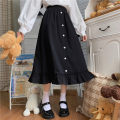 skirt Autumn 2020 One size fits all, XXS pre-sale black Mid length dress Sweet High waist High waist skirt 18-24 years old solar system