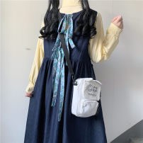 Dress Spring 2021 Cream shirt, denim vest skirt One size fits all, XXS pre-sale Mid length dress other Long sleeves Sweet One word collar Loose waist A-line skirt other straps 18-24 years old Type A Other / other More than 95% cotton solar system