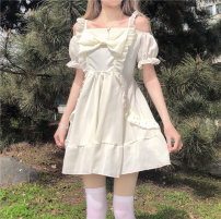 Dress Summer 2021 Light blue, picture color One size fits all, XXS pre-sale Middle-skirt Short sleeve Sweet One word collar High waist Socket Princess Dress other camisole 18-24 years old Type A solar system