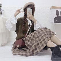 Fashion suit Autumn 2020 One size fits all, XXS pre-sale White shirt sheet, vest sheet, plaid skirt sheet 18-25 years old Other / other 51% (inclusive) - 70% (inclusive) cotton