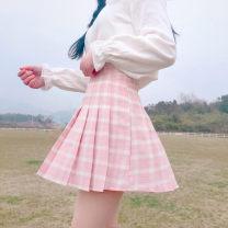 skirt Summer of 2018 S. M, l, XXXs pre-sale Light blue, dark gray, light pink Short skirt Sweet High waist Pleated skirt lattice Under 17 Other / other solar system