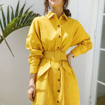 Dress Autumn of 2018 yellow S,M,L Mid length dress singleton  Long sleeves commute Polo collar Loose waist Solid color Single breasted Bat sleeve Type H Korean version Pocket, button corduroy