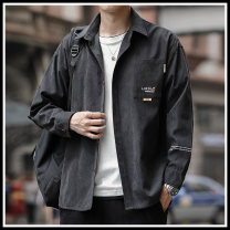 shirt Youth fashion Montvoo / maiteyou M L XL 2XL 3XL 4XL routine Button collar Long sleeves easy daily spring 136-89155AJQ6 youth Polyester 92% polyamide 8% tide 2021 Letters / numbers / characters Spring 2021 other Button decoration Pure e-commerce (online only)
