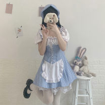 Dress Summer 2021 Graph color Average size Mid length dress singleton  Short sleeve Sweet One word collar High waist lattice puff sleeve 18-24 years old Type A 30% and below